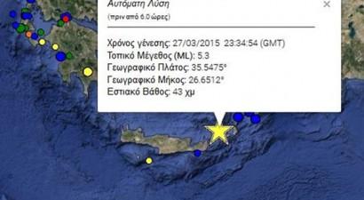 Σεισμός 5,3 Ρίχτερ ανοιχτά της Κρήτης και της Κάσου