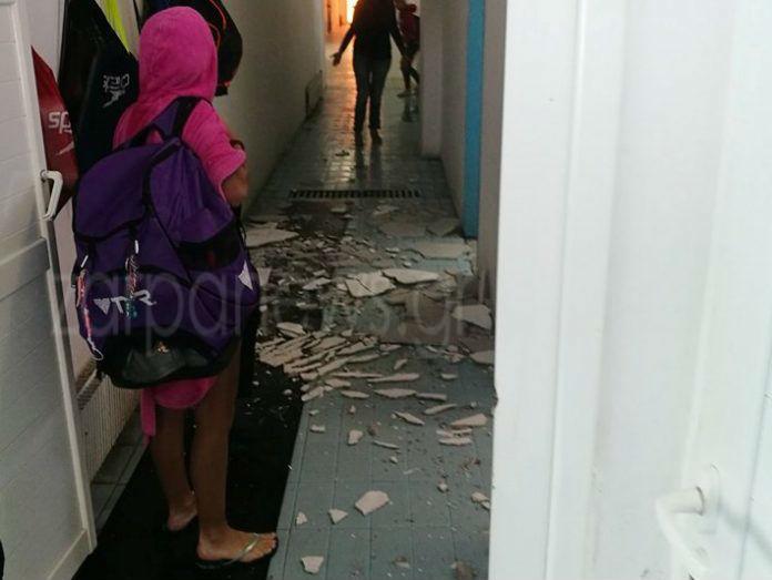 Κατέρρευσε τμήμα της οροφής στα αποδυτήρια του κολυμβητηρίου στη Νέα Χώρα Χανίων