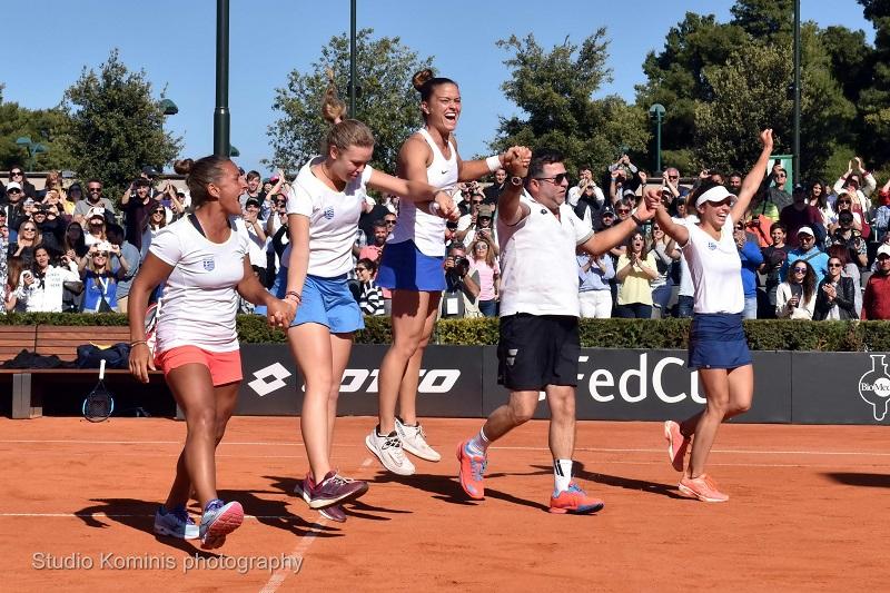 Την άνοδο της στην πρώτη κατηγορία της Ευρωαφρικανικής ζώνης του Fed Cup, εξασφάλισε η εθνική γυναικών στο τένις