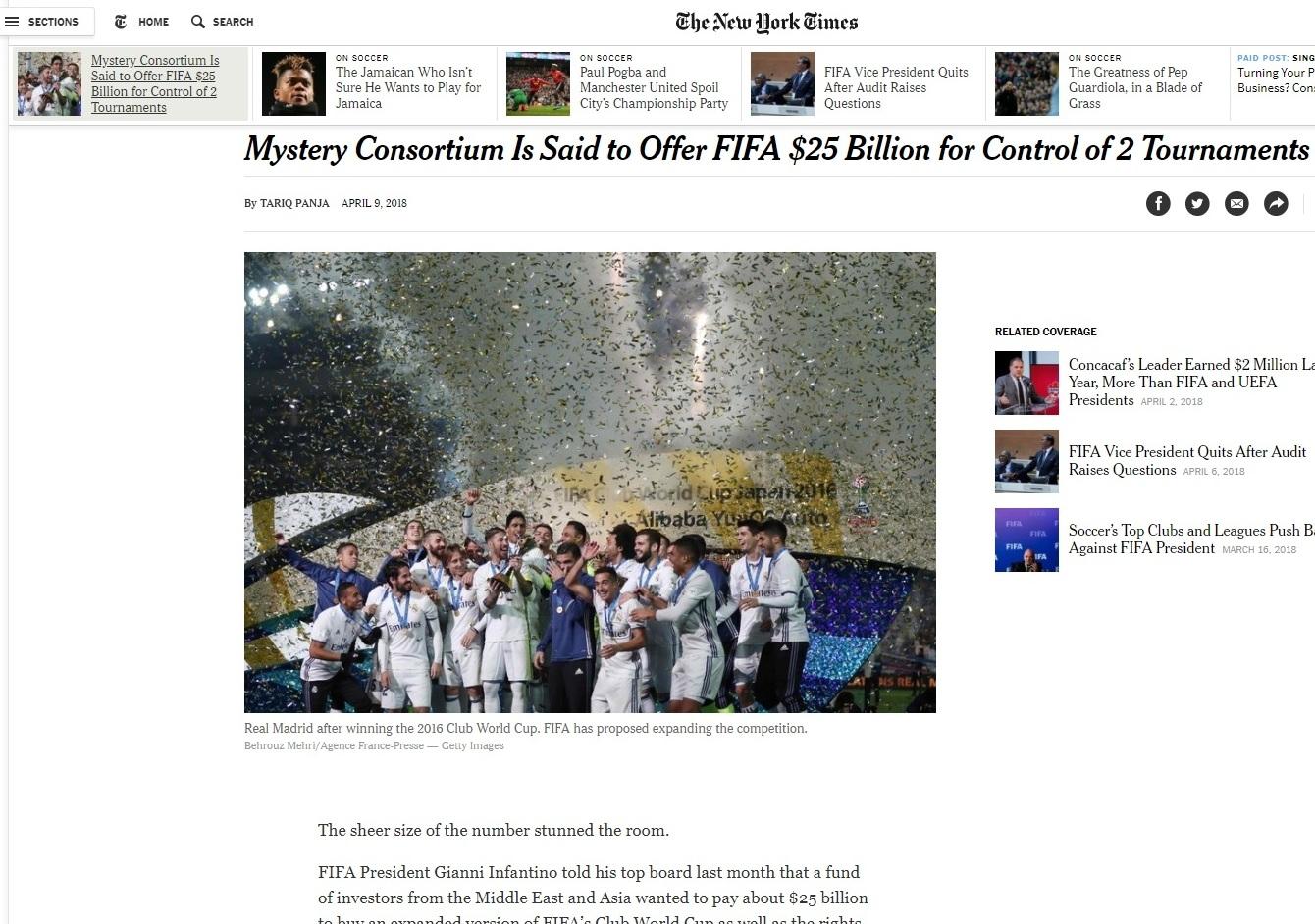 «Τρελή» πρόταση σε FIFA από κονσόρτσιουμ, αποκάλυψαν οι New York Times